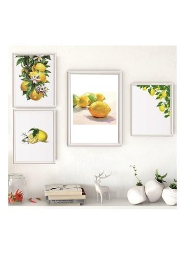 Lyn Home & Decor Limon Seri Çerçeveli Poster 4 Lü Tablo 1 Adet 23,5X33,5 3 Adet 17,5X23,5 Beyaz